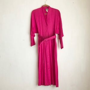 Vintage dress pink buttons down size:M